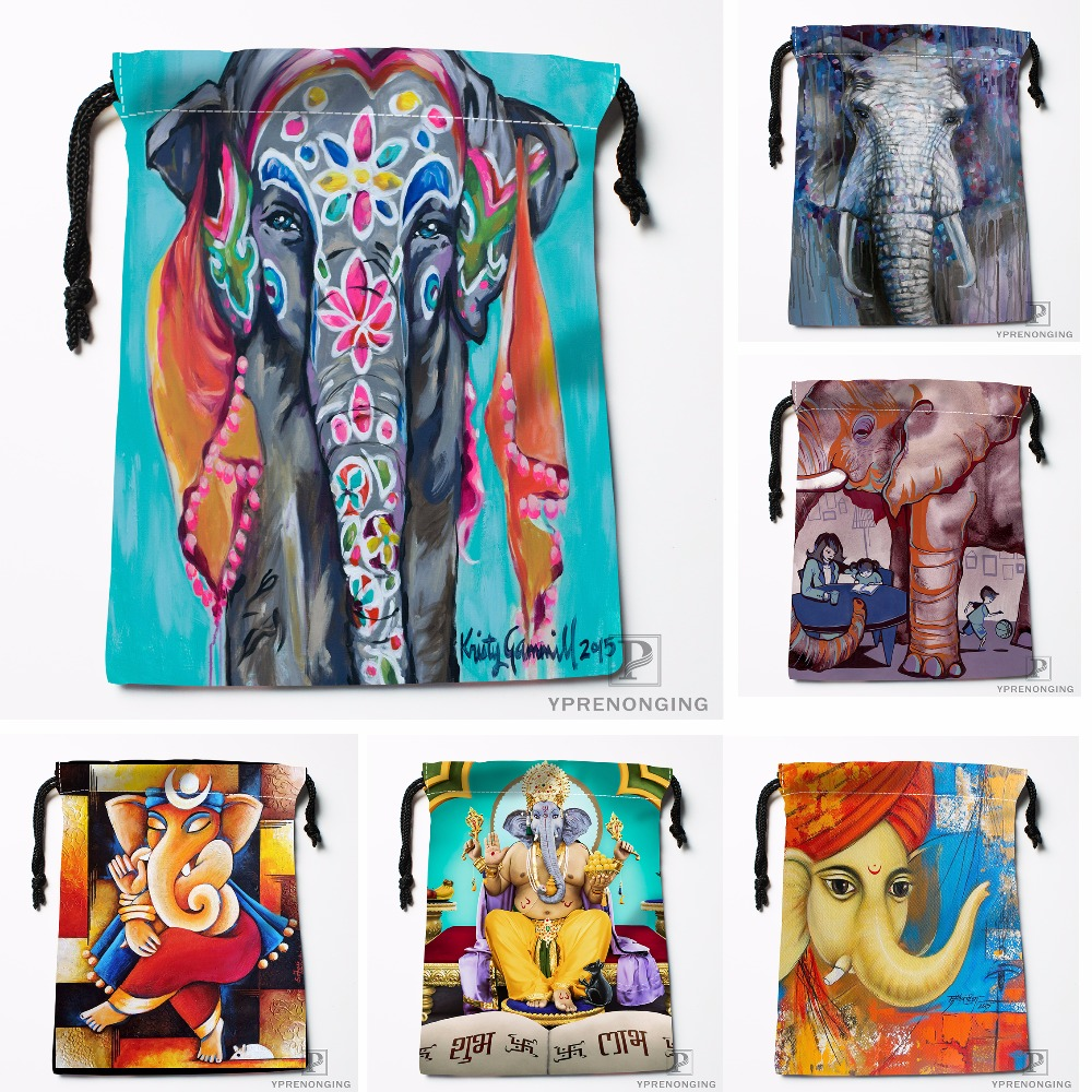Custom Manjari Sharma Lord Elephant Drawstring Bags Travel Storage Mini Pouch Swim Hiking Toy Bag Size 18x22cm#0412-04-15