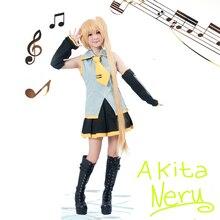 Envío Libre Vocaloid Akita Neru Amarillo Anime Cosplay Costume