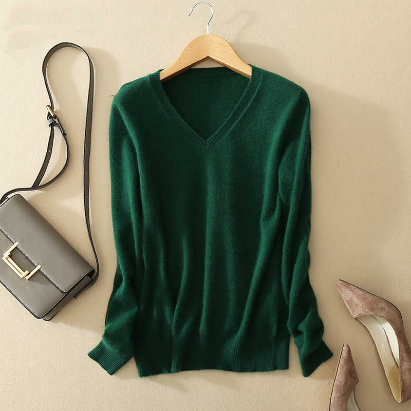 Sweater V-neck Wanita Fashion Musim Gugur Wol Kasmir Sweater Rajut V-Leher Solid Slim Seksi Pullovers Mantel Wanita Blus Knit Sweater