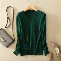 Свитер с v-образным вырезом Женская мода осень кашемир шерсть свитер вязаный v-образный вырез однотонный тонкий сексуальный пуловер пальто ...