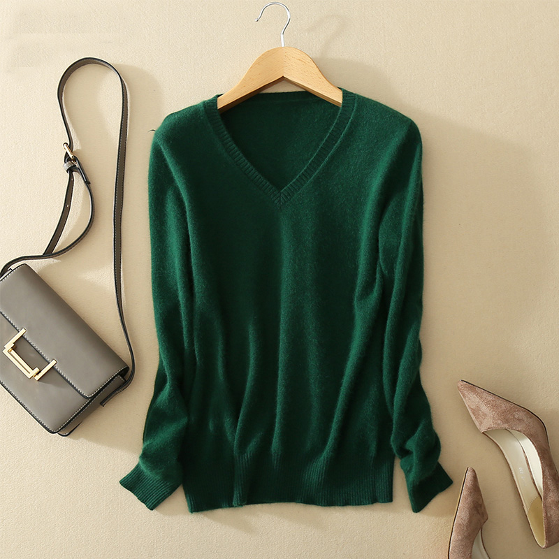 Sweater V-neck Women Fashion Autumn Cashmere Wool Kint Sweater V-neck Solid Slim Sexy Pullovers Coat Female Blouse Knit Sweater