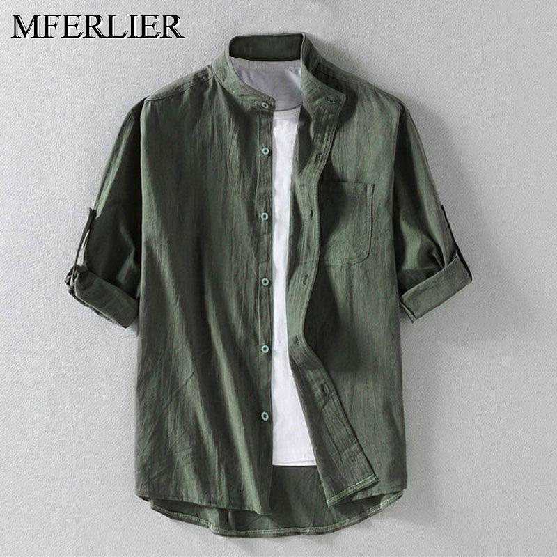 Summer Cotton Linen Men Shirts 5XL 6XL 7XL Bust 136cm Plus Size Large Size Shirt Men 3 Colors