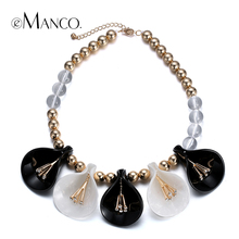 //Bead chain necklace flower acrylic// women choker necklaces & pendants new arrival 2016 jewelry trendy necklace eManco NL13253
