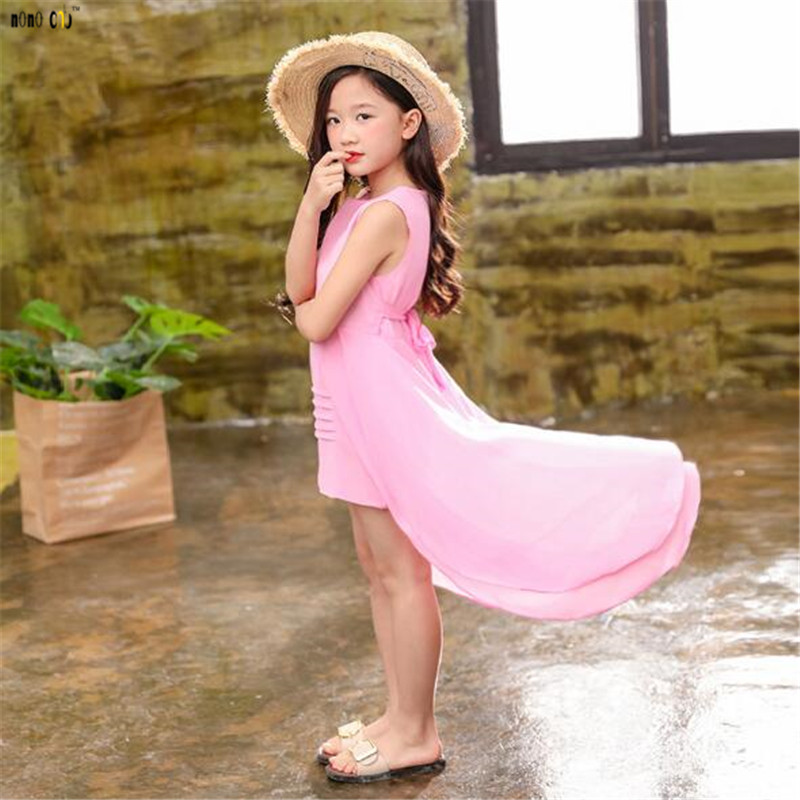 Image 5 - Big Girls Chiffon Dress 2018 Summer Sleeveless Irregular Elegant Princess Party Dresses 5 6 7 8 9 10 11 12 Years Kids Clothes-in Dresses from Mother & Kids