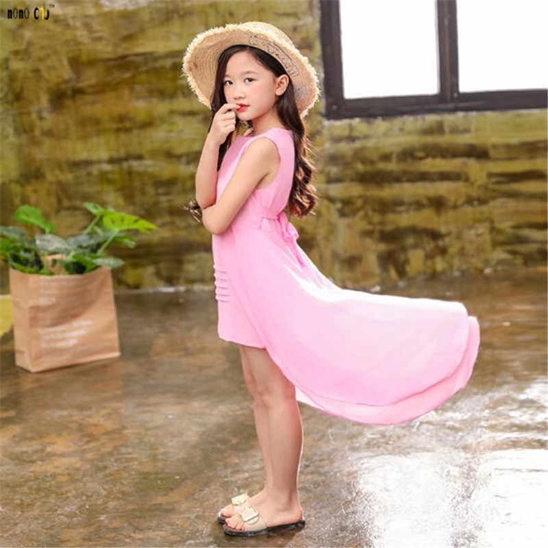 edafe6e374 ... Big Girls Chiffon Dress 2018 Summer Sleeveless Irregular Elegant  Princess Party Dresses 5 6 7 8 ...