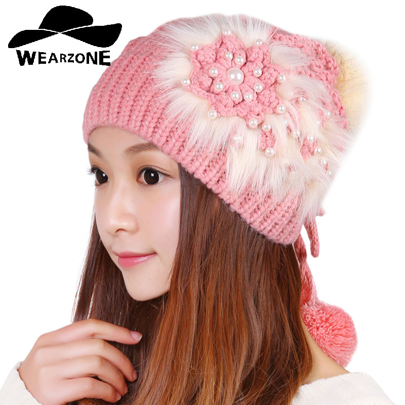2016Autumn Winter warm hot sale female girl women knitted faux fur flower skullies beanies cap hat fashion accessories