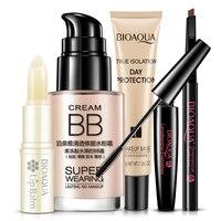 Bioaqua Brillante Trucco Cosmetici Set Balsamo per le labbra BB Crema Matita Per Gli Occhi Neri Mascara Cream Make Up Base 5 pz