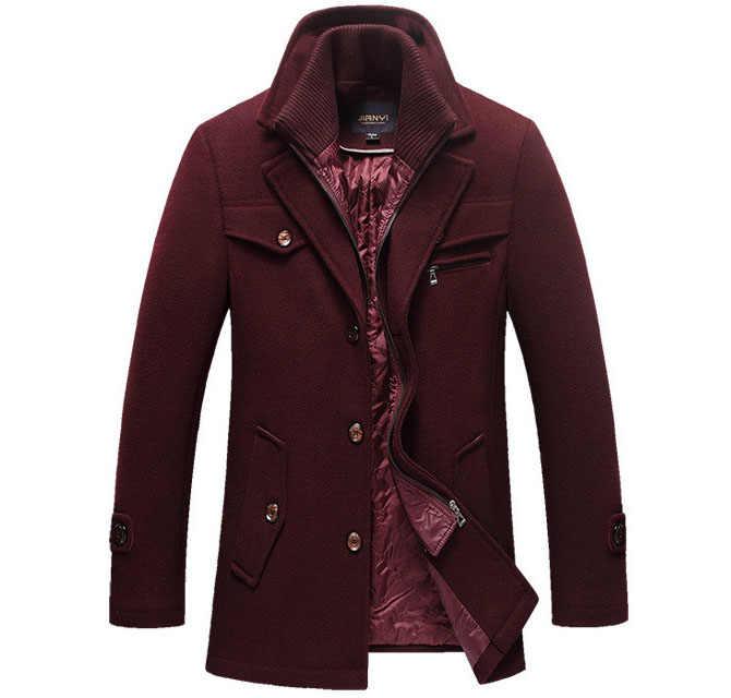 Новое зимнее шерстяное зауженное пальто впору куртки Мужская Повседневная Теплая Верхняя одежда куртка и пальто Мужская бушлат Размер M-4XL дропшиппинг