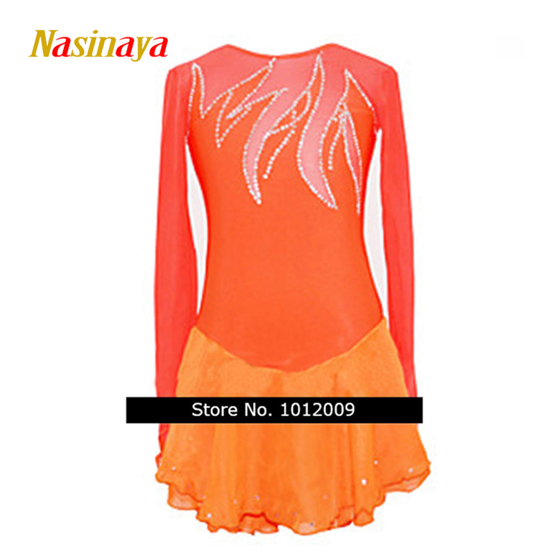 Customized Costume Ice Skating Figure Skating Dress Gymnastics Adult Child Girl Skirt Competition Orange Long Sleeve vik max adult kids dark blue leather figure skate shoes with aluminium alloy frame and stainless steel ice blade