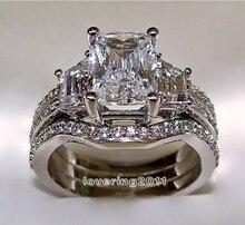 Victoria Wieck princesa cut 5ct topaz de diamantes simulados oro blanco de 10KT llenó 3-en-1 de compromiso anillo de bodas tamaño 5-11 regalo