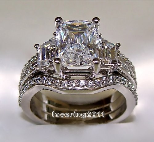 Victoria Wieck Princess cut 5ct topaz simulated diamond 10KT White Gold Filled 3-in-1 Engagement Wedding Ring Set Size 5-11 Gift