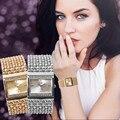 Nueva Señora de Oro Relojes Mujeres Vestido Reloj Reloj Elegante de Acero Inoxidable de Cuarzo Reloj de pulsera de Lujo Ocasional de las mujeres Relojes de Vestir de Cristal