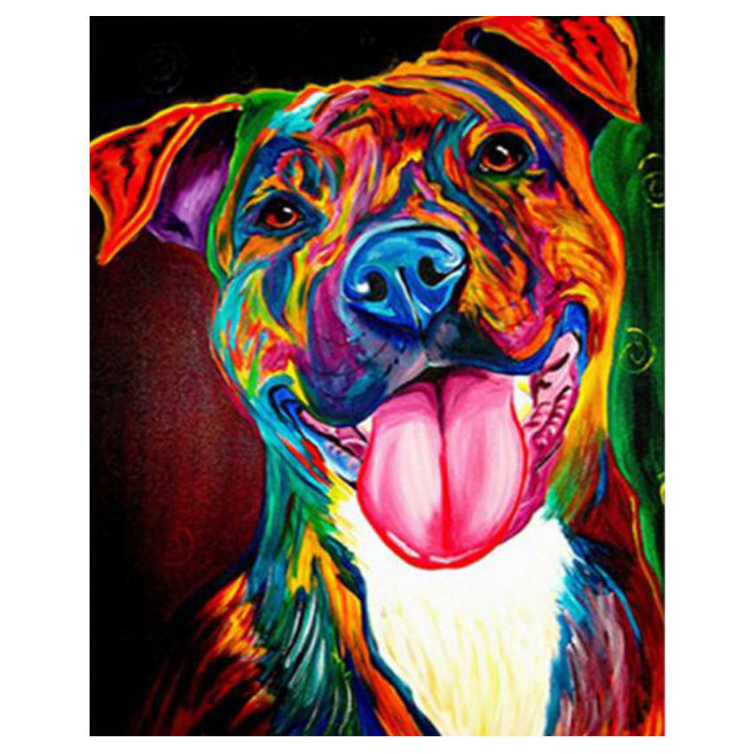 RIHE Colorful Animal Paint By Numbers Canvas For Adults Kids Beginner Kits Abstract Dog DIY Painting By Number With Brushes Art