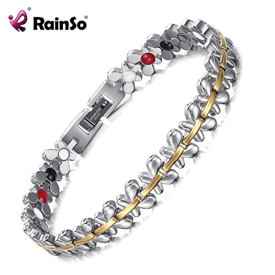 Rainso Brand Design Fashion Health Energy Magnetic Bracelets Bangles for Women Drop-Shipping Germanium Charm Butterfly Wristband
