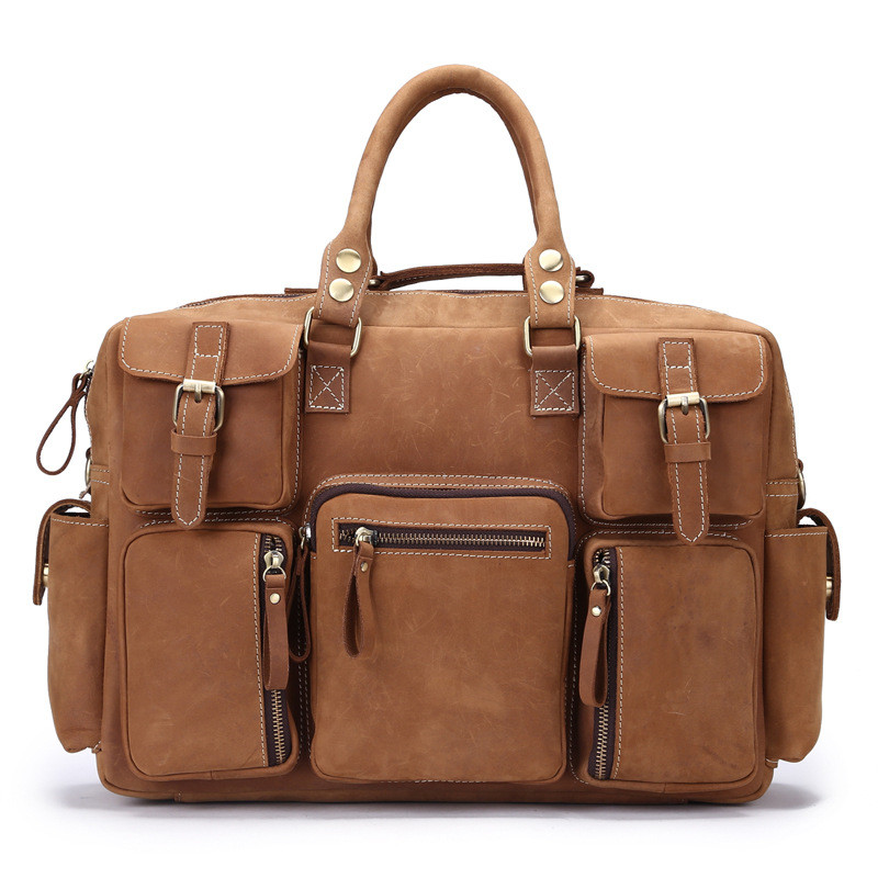 A Mad Horse Leather Men\'S Travel Bag Retro Handmade Leather Shoulder Bag Business Travel Male Package 3061