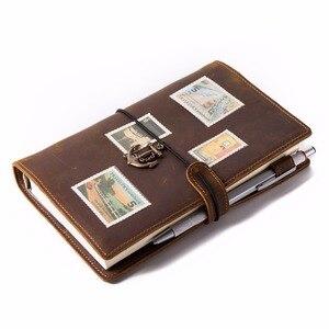 Image 5 - Lederen Travel Notebook Journal Dagboek Handgemaakte 100% Vintage Klassieke Hardcover Kantoor School Briefpapier Schetsboek A6 A7 A5