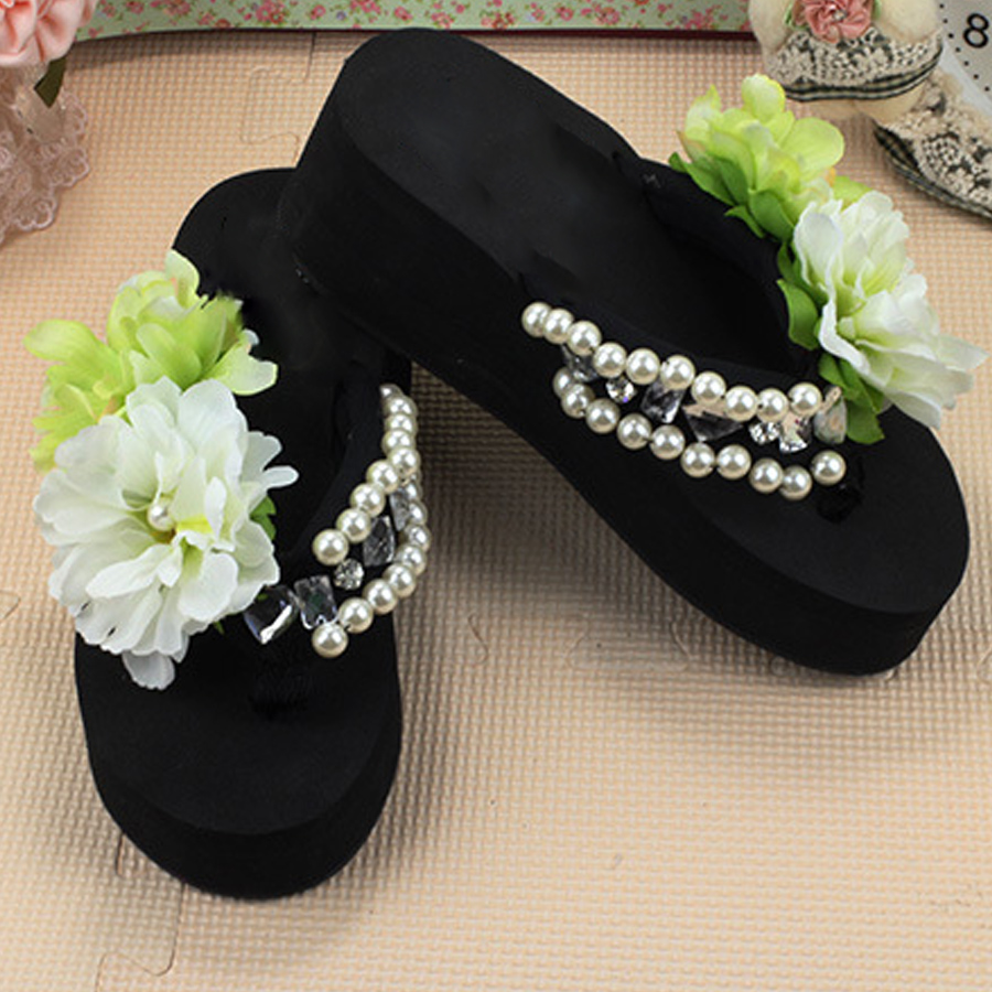 07e63f4e3 Sale top summer women fashion sandals Diamond Pearl Beach women Slippers  Shoes with thick wedges Handmade flower flip flops-in Slippers from Shoes  on ...