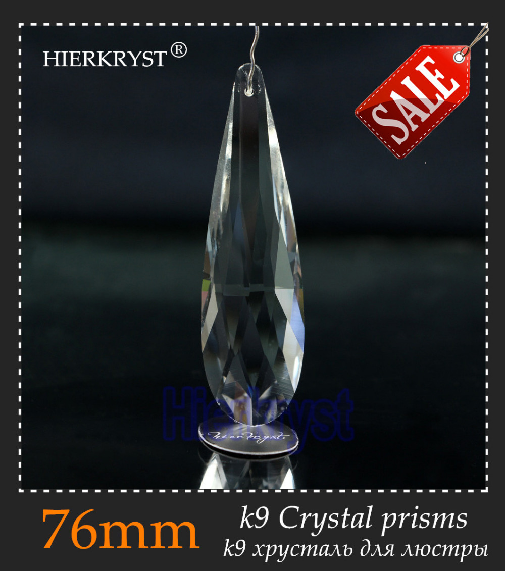 HIERKYST 10 Pcs K9 Glass Crystal Prisms Pendants Chandeliers Parts Lustres Rainbow Lamp Lighting Hang Drops 76mm 3