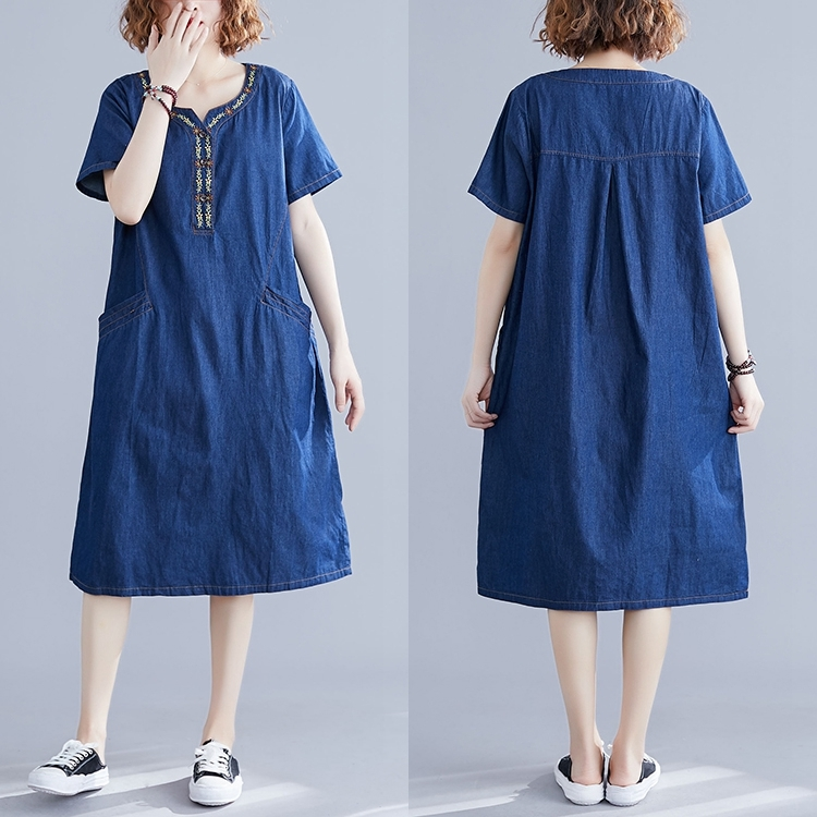 0402 Summer Denim Dress Women Loose Plus Size Retro O Neck Embroidery Loose Midi Dress Female Straight Pockets Front Buttons in Dresses from Women 39 s Clothing