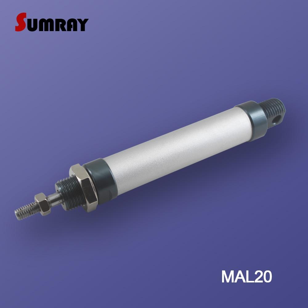 Купить с кэшбэком SUMRAY Pneumatic Cylinder MAL Type 20mm Bore 25/50/75/100/125/150/175/200/250/300mm Stroke Double Action Pneumatic Air Cylinder