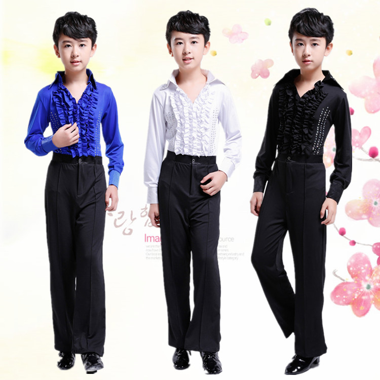 New Boy Latin Ballroom Costume Children Latin Shirt Suit Rumba Samba Dancewear Latin Dance Competition Clothes