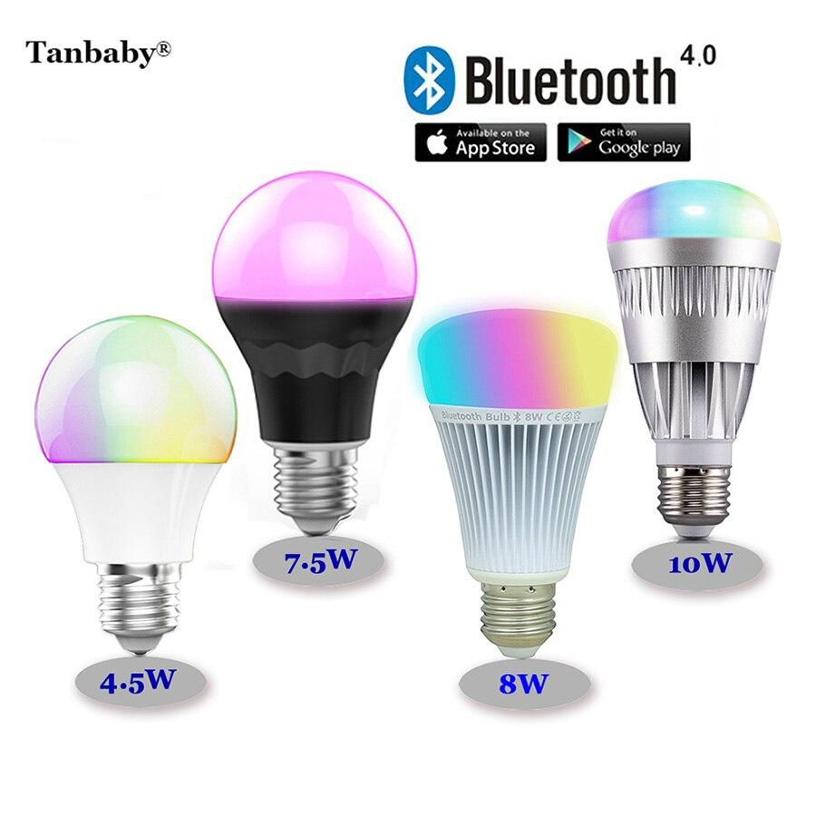 Tanbaby RGBW Bluetooth 4.0 LED Bulbs 4.5W 7.5W 8W 10W E27 Smart Mi.light RGB + color temperature adjust dimmable lighting lamp tanbaby 4 5w e27 rgbw led light bulb bluetooth 4 0 smart lighting lamp color change dimmable for home hotel ac85 265v