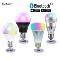Tanbaby rgbw bluetooth 4.0 led ampoules 4.5 w 7.5 w 8 w 10 w e27 smart mi. light rgb + couleur température ajuster dimmable éclairage lampe