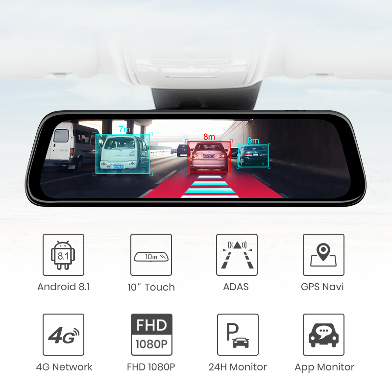 "AWESAFE Car DVR GPS Navigator Camera 4G ADAS 9.66"" Android 8.1 Stream Media Rear View Mirror FHD 1080P Mirror Dash Cam Recorder-in Car Mirror Video from Automobiles & Motorcycles    2"