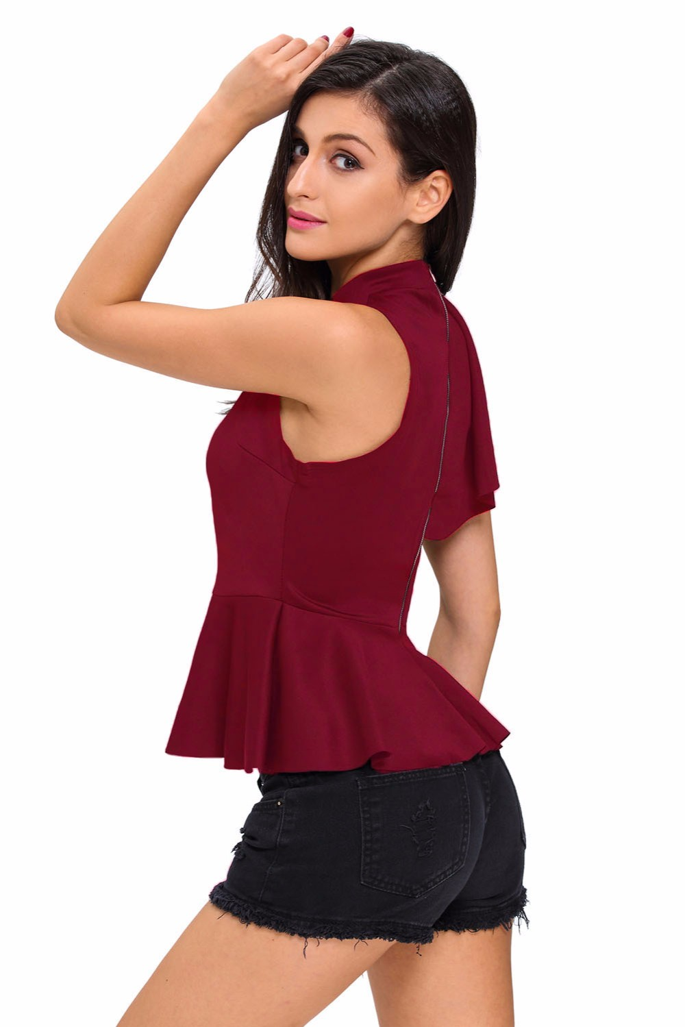 Wine-Asymmetric-Ruffle-Side-Peplum-Top-LC25845-3-4