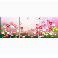 Freeshipping Frameless Modern Decoration Flower Painting Print Ed On Fabric Coloth Colorful Flower Art Print For