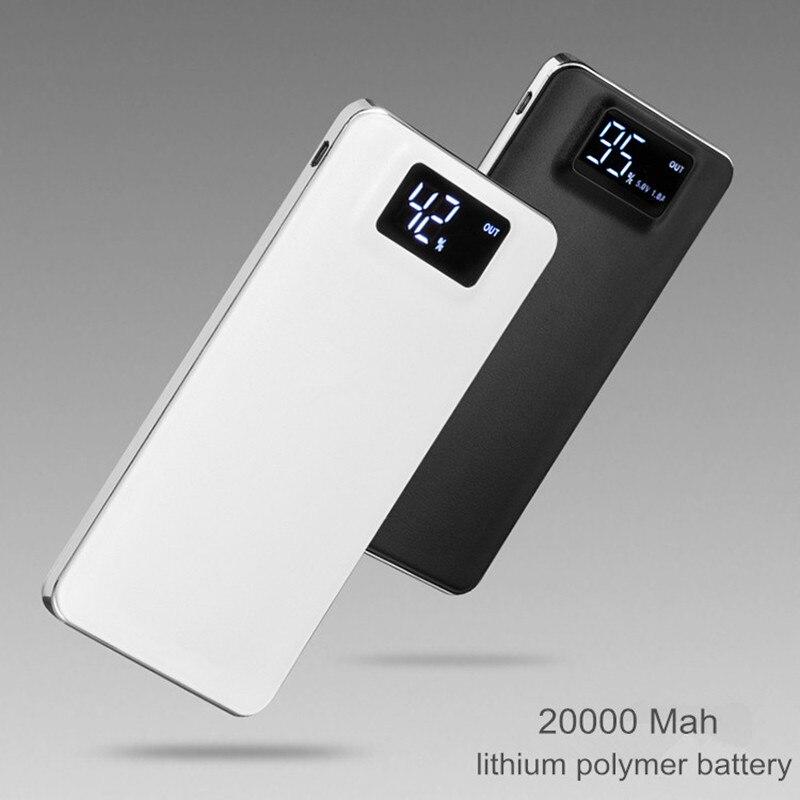 imágenes para USB doble Banco de Alimentación 20000 mAh powerbank Batería Dual USB LCD Display de Copia de Seguridad Externa para el Teléfono móvil Cargador Universal
