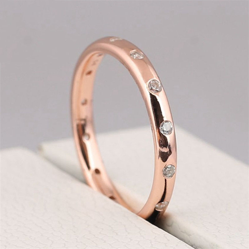 Original 925 Sterling Silver Fashion Rose Sparkling Droplets Ring Shine Clear CZ For Women Wedding Gift Fine Pans Jewelry in Wedding Bands from Jewelry Accessories