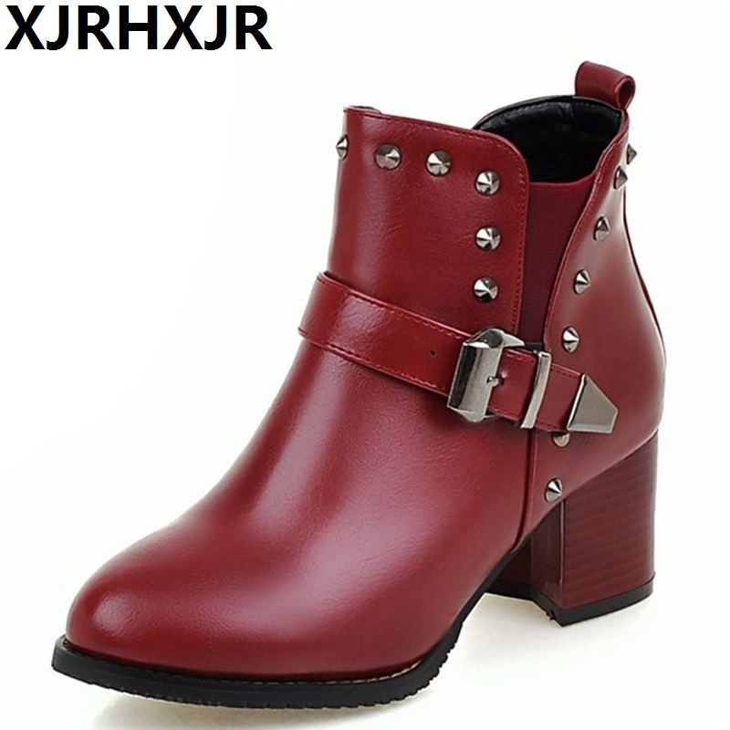 XJRHXJR Fashion Rivets With Buckle Ankle Boots Women Autumn Winter Shoes Thick Heels Martin Boots Ladies Big Size Shoes 30-48 xjrhxjr 2018 autumn winter new long