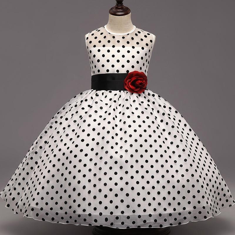 Fashion 2016 Designer Baby Kids Black Dots Flower Princess Pageant Party Dress Formal Girls Wedding Ceremonies Dresses 1