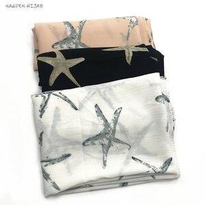 NEW chiffon print hijab scarf sea star pattern fashion women muslim hijabs fashion islamic scarves shawls brand soft muffler