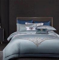 الأزرق رمادي 1000TC 100% القطن المصري 4 قطع لحاف مجموعة غطاء مع قسط التطريز الملكة سرير ملكي ورقة وسادة شمس
