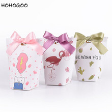 HOHOGOO 50pcs/lot Flamingo Cactus Plant Gift Boxes Paper Be Wish YouLetter Wedding Engagement Party Candy Hand Packaging
