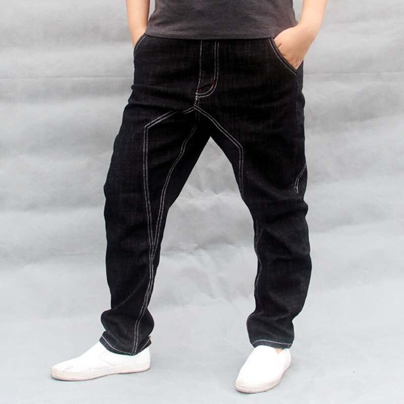 Men Hip Hop Harem   Jeans   Black Loose Baggy Cotton Denim Pants Male Joggers   Jeans   Trousers Big Size S-4XL