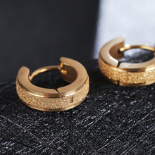 4Style Female Earrings New Fashion Cool Gold/Silver/Black Frosted Stainless Steel Round Stud For Women Men Jewelry 2019