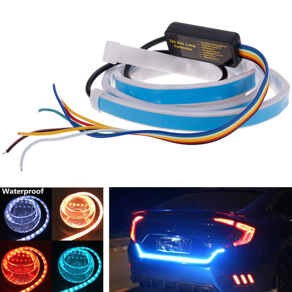 Promotion! 1.2m 12V Car Four Colors Flow Type 36 LED Car Tailgate Strip Waterproof Brake Driving Turn Signal Light