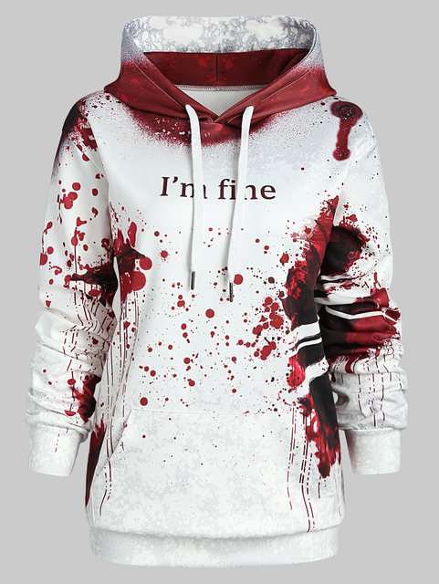 b1300b2625e Wipalo Plus Size Blood Hoodies Sweatshirts Women I M FINE Letter Print  Jacket Halloween Hoodie Jumper Tracksuit Pullover Female-in Hoodies    Sweatshirts ...