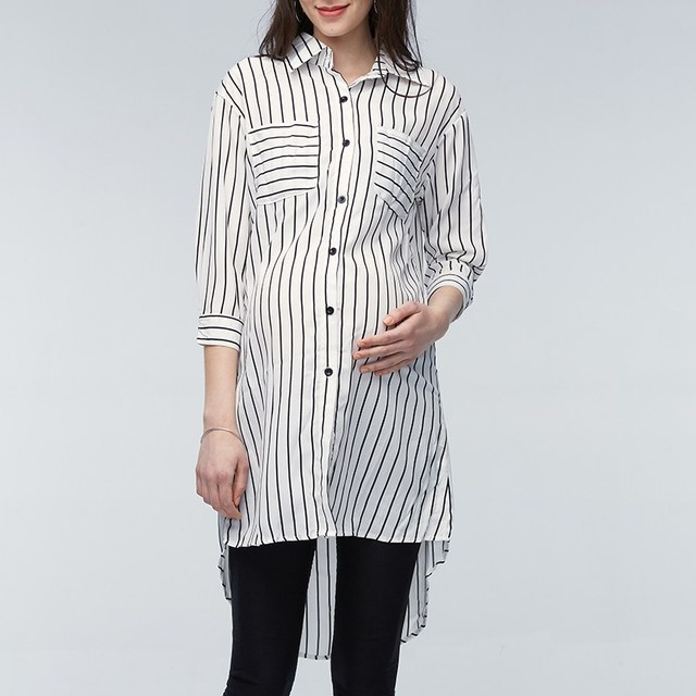dcebdb65c8a6d Maternity Clothings Pregnant Women Blouses 2018 Pregnancy Lapel 3 4 Sleeve  Casual Loose Striped Shirts Plus Size Oversized 5XL