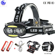 Headlight 30000 Lumen headlamp 4* T6 +2*COB+2*Red LED Head Lamp Flashlight Torch Lanterna with batteries charger headlamps headlight 40000 lumen headlamp 4 xm l t6 2 cob 2 red led head lamp flashlight torch lanterna with batteries charger z91