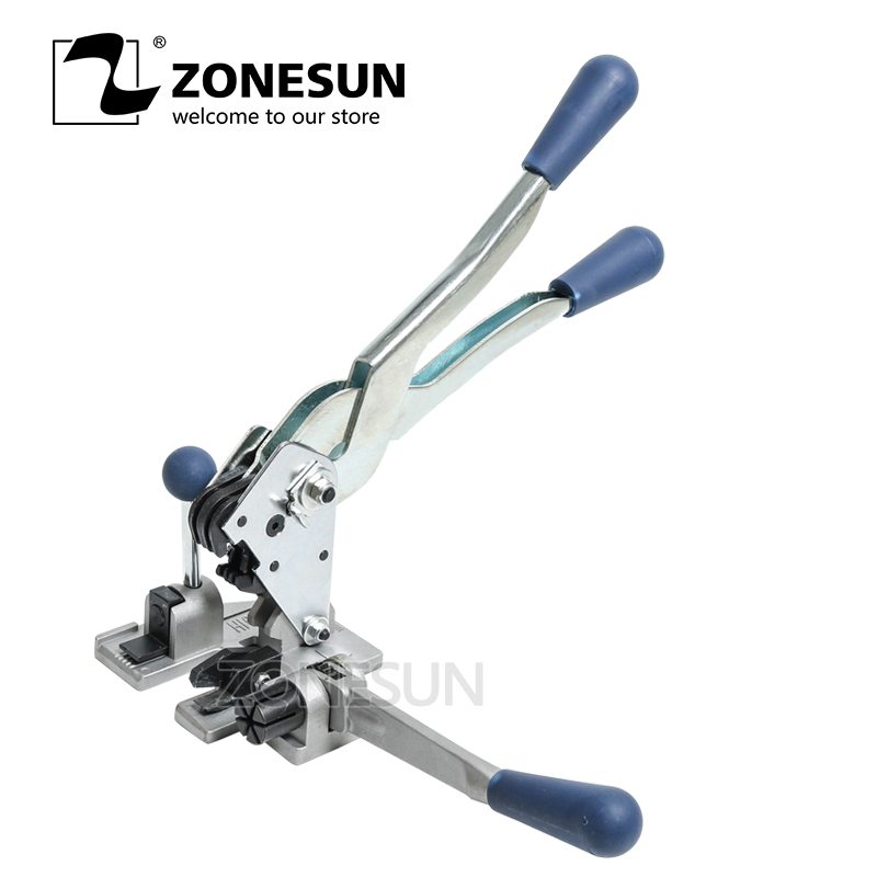 ZONESUN Manual strapping machine packaging tool multifunction plastic 13mm PP packing strap belt tensioner cutter hand tool set zonesun long hand pp pet plastic strapping cutter for pp pet strapping belt band tensioner and sealing max cut 16mm