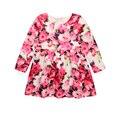 Nuevas Adquisiciones de Primavera Cabritos de La Manera Vestido Estampado de Algodón de Corea Niños IG Marca Moda Flor Color de Rosa Vestido de Partido de Las Muchachas de La Princesa Europa