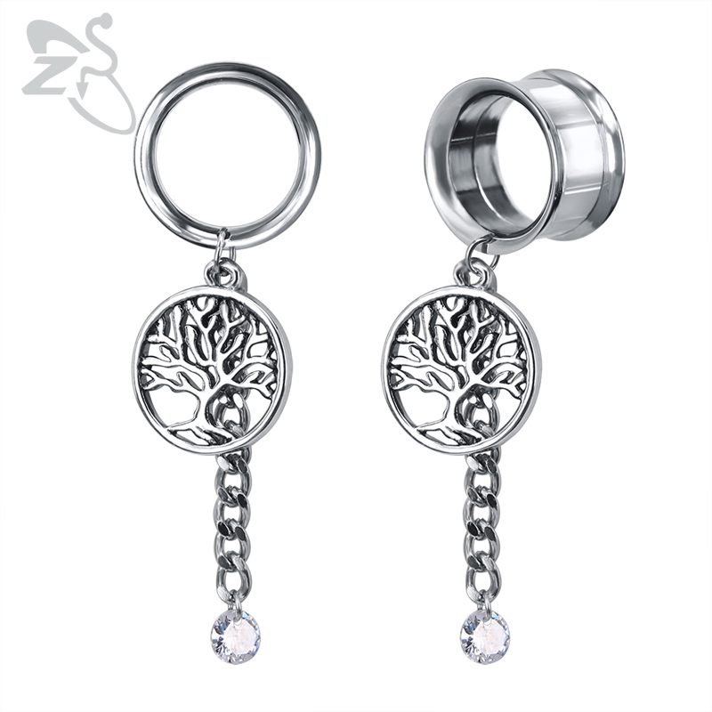 ZS 5-22mm 316L Stainless Steel Tree of Life Ear Tunnel Charm Single Flare Ear Plugs Gauge Flesh Body Piercing Jewelry image