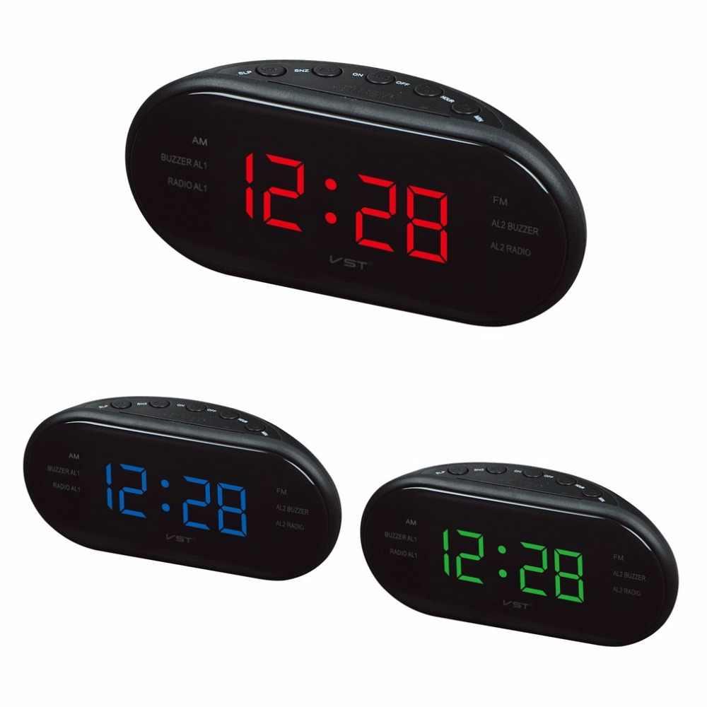 220V UE enchufe AM doble frecuencia FM Radio despertador reloj LED Digital Reloj luminoso Snooze MESA DE HOGAR electrónica reloj