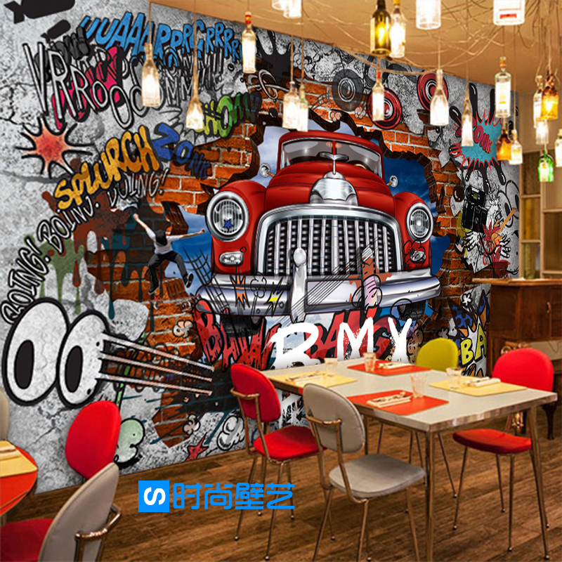Free Shipping 3D stereo personality mural retro cars graffiti background wall lobby restaurant dining room hotel wallpaper mural free shipping retro cafe bar background wall wallpaper theme hotel restaurant personality mural graffiti wallpaper