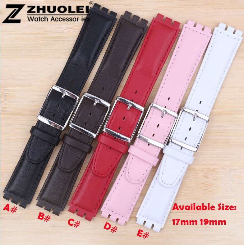 17mm 19mm Silver Stainless Steel Clasp Buckle Black Brown Red White Pink Genuine Leather Watch Band Bracelet Strap 20mm 22mm black genuine leather watch bands strap bracelet brand black stainless steel clasp buckle red stitched line watchbands