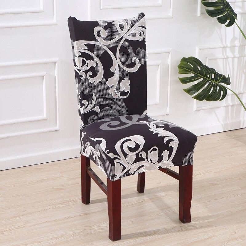 Actief Elastische Stoel Cover Voor Computer/eetkamer/keuken/kantoor Zwart Wit Gedrukt Stoelbekleding Spandex Seat Cover Wedding 42
